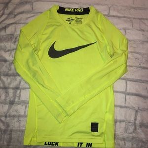 Nike Pro Dri Fit Compression Neon Long Sleeve